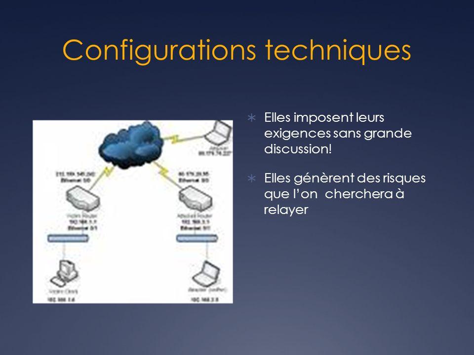 Configurations techniques Elles imposent leurs exigences sans grande discussion.