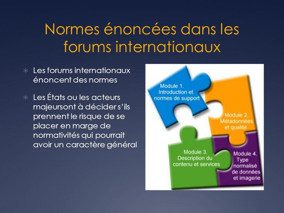 Normes énoncées dans les forums internationaux Les forums internationaux énoncent des normes Les États ou les acteurs majeursont à décider sils prennent le risque de se placer en marge de normativités qui pourrait avoir un caractère général