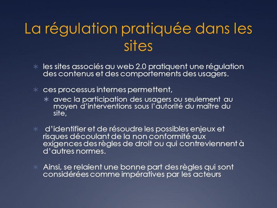 La régulation pratiquée dans les sites les sites associés au web 2.0 pratiquent une régulation des contenus et des comportements des usagers.