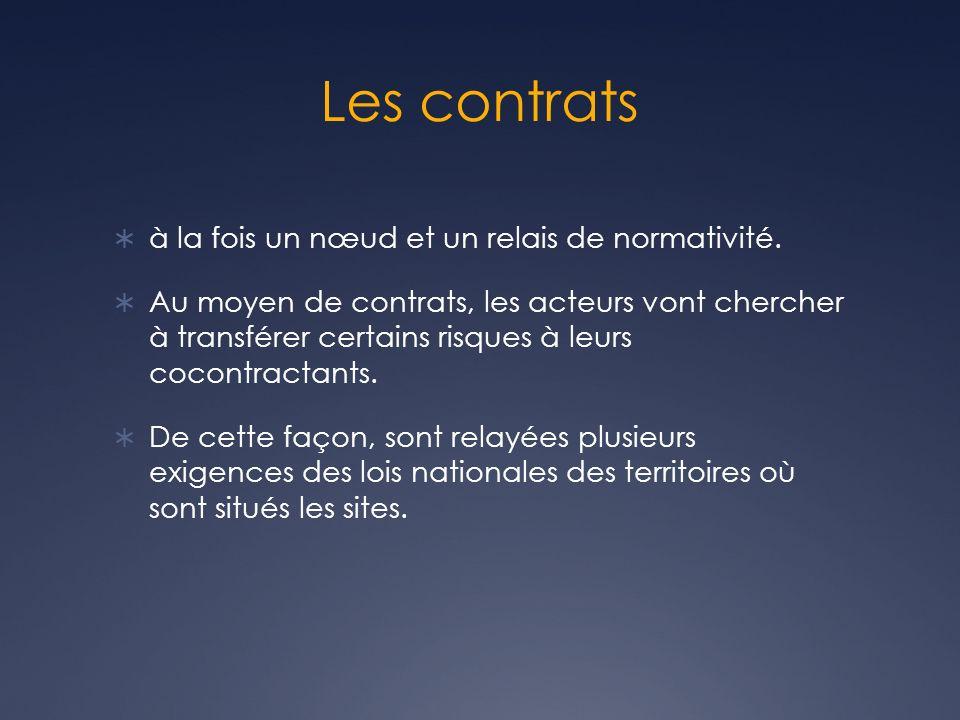 Les contrats à la fois un nœud et un relais de normativité.