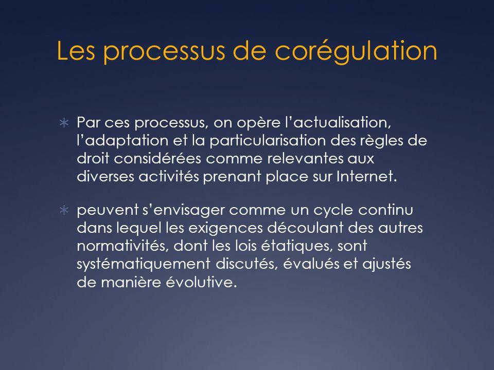 Les processus de corégulation Par ces processus, on opère lactualisation, ladaptation et la particularisation des règles de droit considérées comme relevantes aux diverses activités prenant place sur Internet.