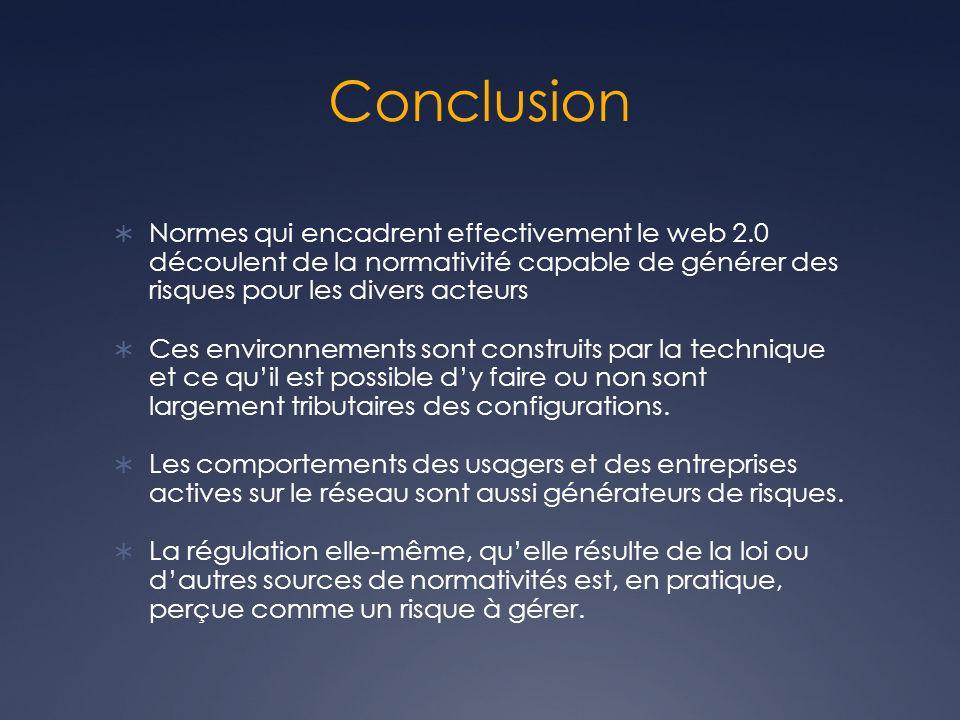 Conclusion Normes qui encadrent effectivement le web 2.0 découlent de la normativité capable de générer des risques pour les divers acteurs Ces environnements sont construits par la technique et ce quil est possible dy faire ou non sont largement tributaires des configurations.
