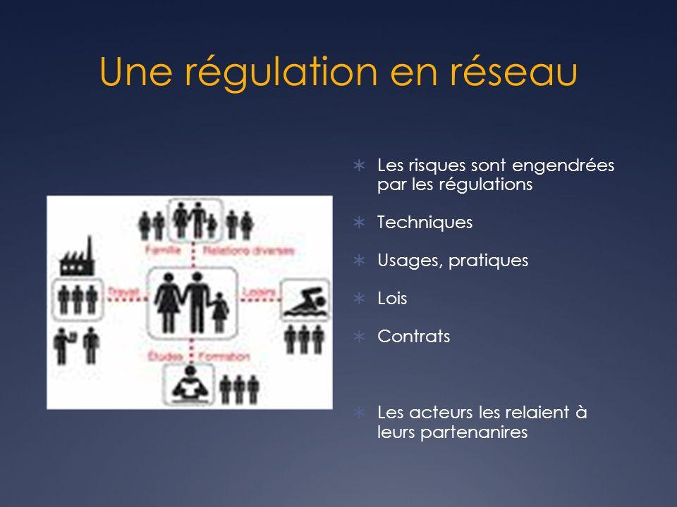 Une régulation en réseau Les risques sont engendrées par les régulations Techniques Usages, pratiques Lois Contrats Les acteurs les relaient à leurs partenanires
