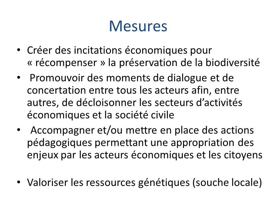 Mesures Créer des incitations économiques pour « récompenser » la préservation de la biodiversité Promouvoir des moments de dialogue et de concertatio