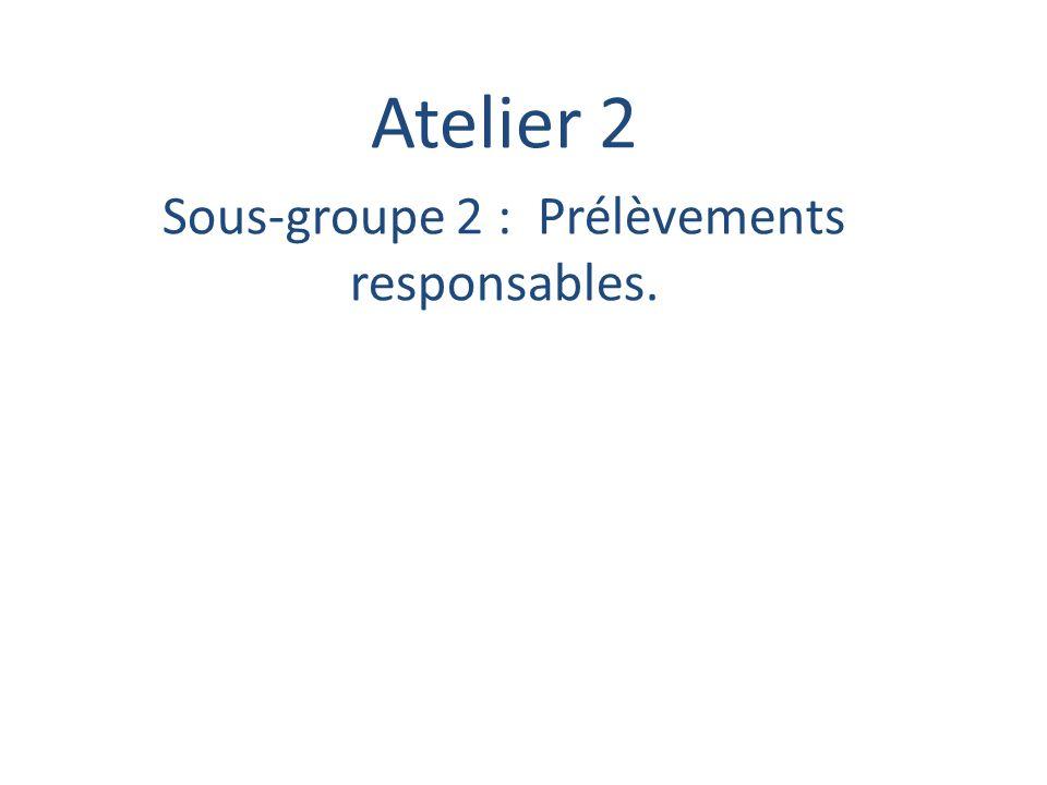Atelier 2 Sous-groupe 2 : Prélèvements responsables.