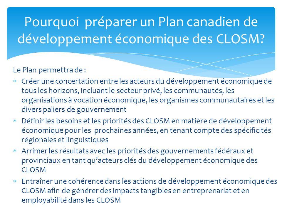 Le Plan permettra de : Créer une concertation entre les acteurs du développement économique de tous les horizons, incluant le secteur privé, les commu