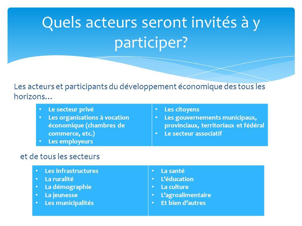 Les acteurs et participants du développement économique des tous les horizons… Quels acteurs seront invités à y participer? Les infrastructures La rur