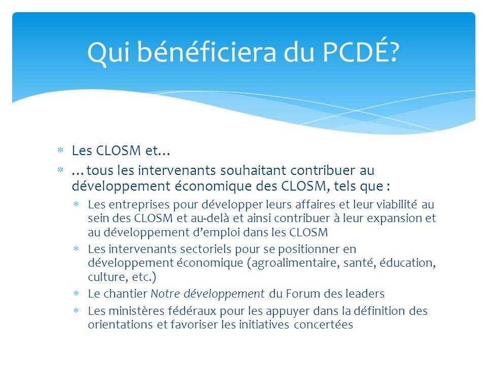 Les CLOSM et… …tous les intervenants souhaitant contribuer au développement économique des CLOSM, tels que : Les entreprises pour développer leurs aff