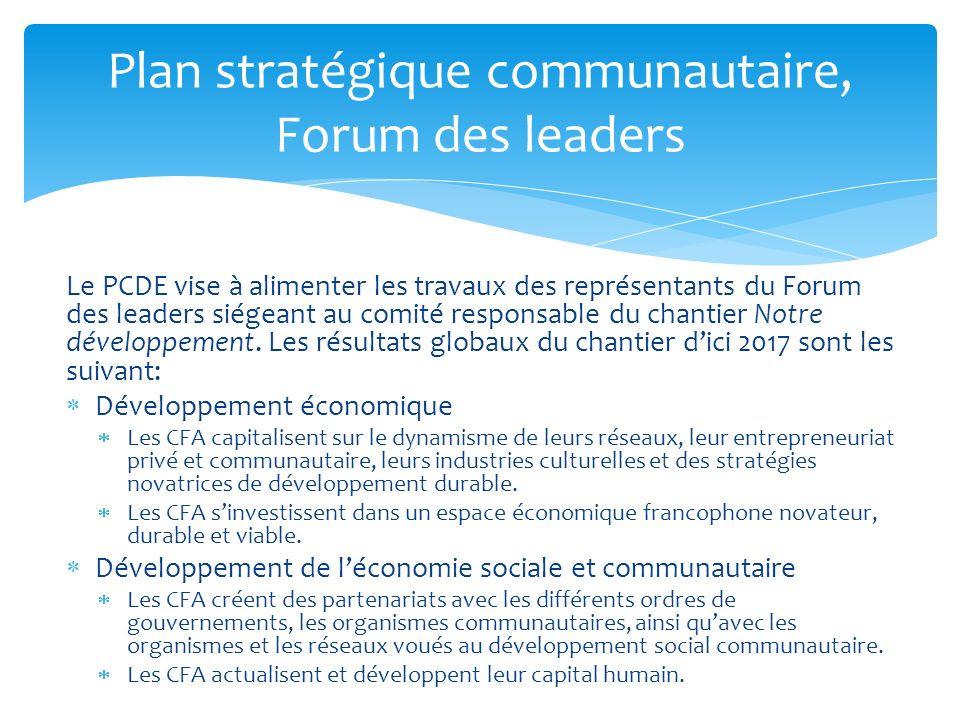 Le PCDE vise à alimenter les travaux des représentants du Forum des leaders siégeant au comité responsable du chantier Notre développement. Les résult