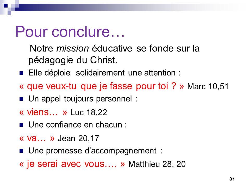 Pour conclure… Notre mission éducative se fonde sur la pédagogie du Christ. Elle déploie solidairement une attention : « que veux-tu que je fasse pour