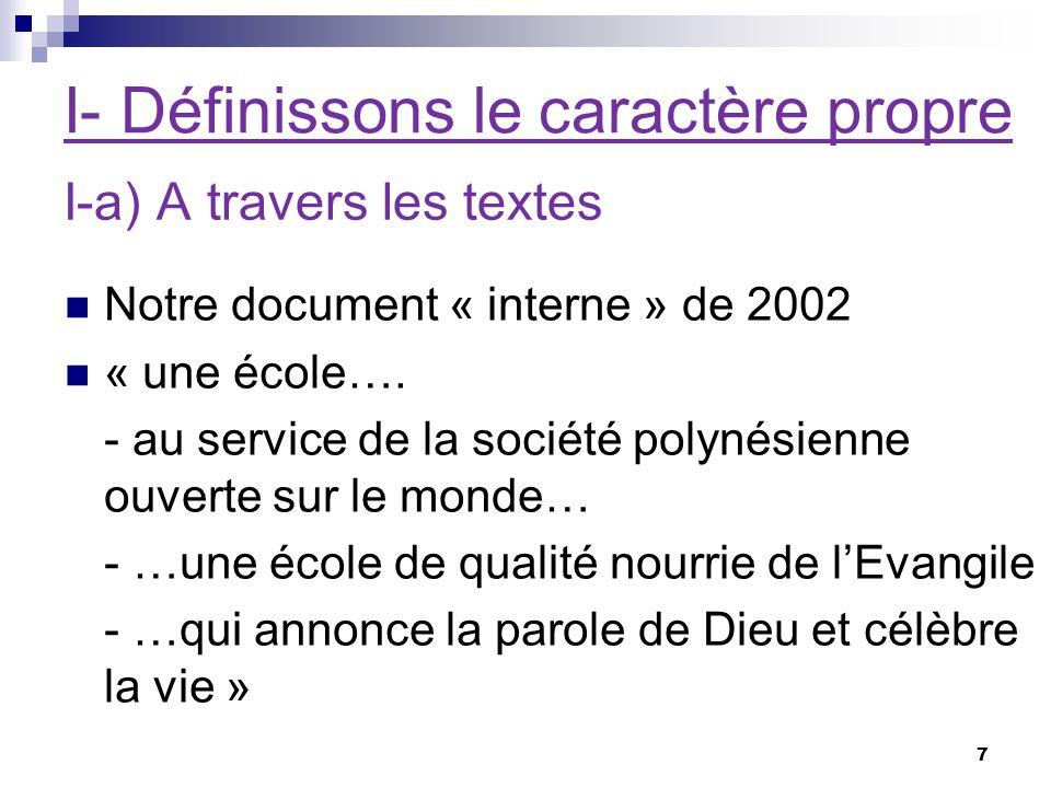 I- Définissons le caractère propre Notre document « interne » de 2002 « une école….