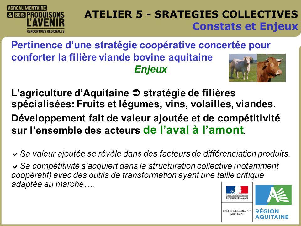 ATELIER 5 - SRATEGIES COLLECTIVES Constats et Enjeux Pertinence dune stratégie coopérative concertée pour conforter la filière viande bovine aquitaine