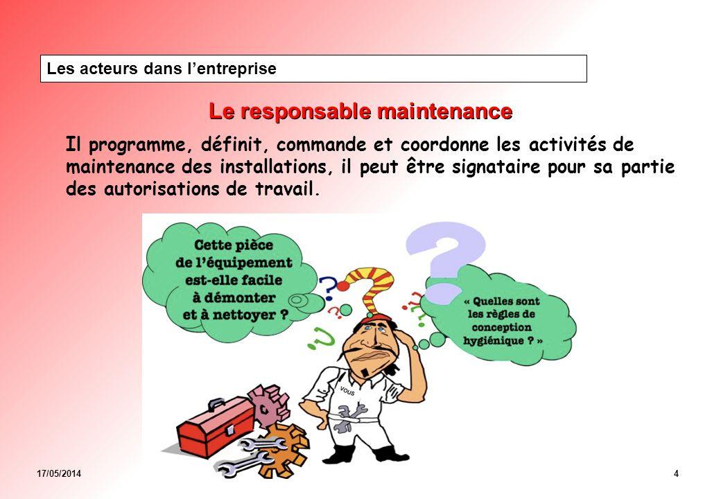 17/05/20144 Le responsable maintenance Les acteurs dans lentreprise Il programme, définit, commande et coordonne les activités de maintenance des installations, il peut être signataire pour sa partie des autorisations de travail.