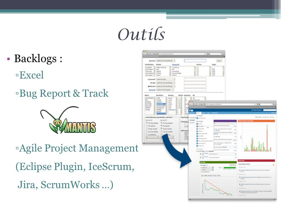 Backlogs : Excel Bug Report & Track Agile Project Management (Eclipse Plugin, IceScrum, Jira, ScrumWorks …) Outils