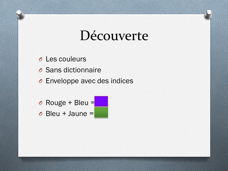 Découverte O Les couleurs O Sans dictionnaire O Enveloppe avec des indices O Rouge + Bleu = O Bleu + Jaune =