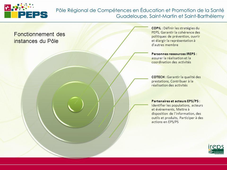 COPIL : Définir les stratégies du PEPS, Garantir la cohérence des politiques de prévention, ouvrir et élargir la représentation à d'autres membre Pers