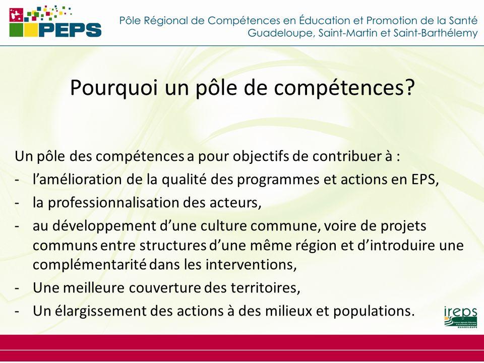 Pourquoi un pôle de compétences? Un pôle des compétences a pour objectifs de contribuer à : -lamélioration de la qualité des programmes et actions en