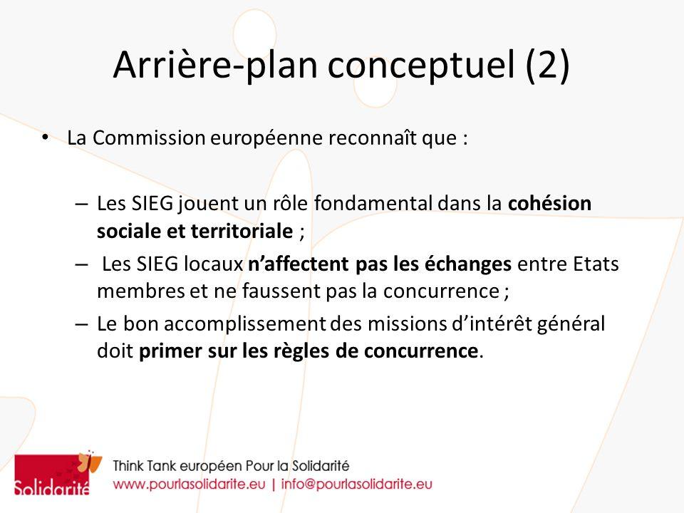 Arrière-plan conceptuel (2) La Commission européenne reconnaît que : – Les SIEG jouent un rôle fondamental dans la cohésion sociale et territoriale ; – Les SIEG locaux naffectent pas les échanges entre Etats membres et ne faussent pas la concurrence ; – Le bon accomplissement des missions dintérêt général doit primer sur les règles de concurrence.