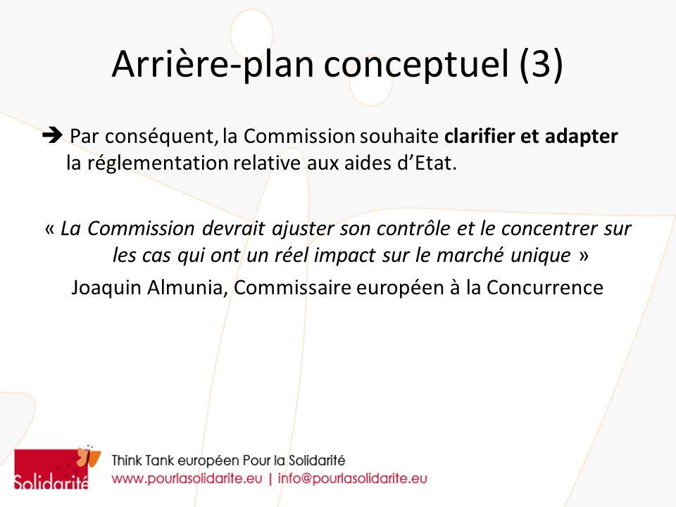 Arrière-plan conceptuel (3) Par conséquent, la Commission souhaite clarifier et adapter la réglementation relative aux aides dEtat. « La Commission de