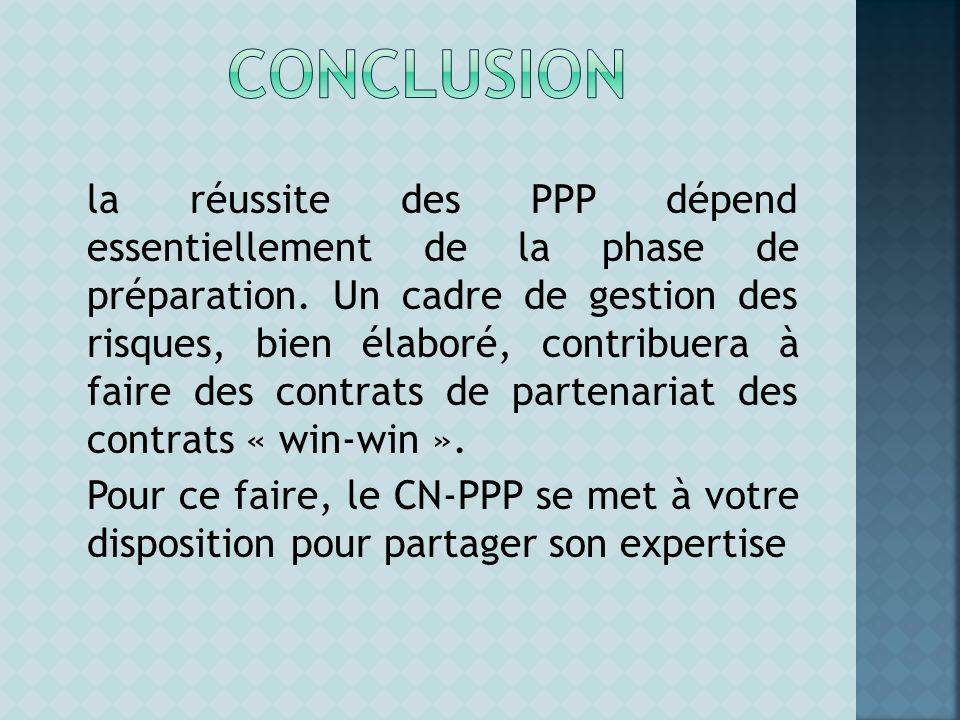 la réussite des PPP dépend essentiellement de la phase de préparation. Un cadre de gestion des risques, bien élaboré, contribuera à faire des contrats