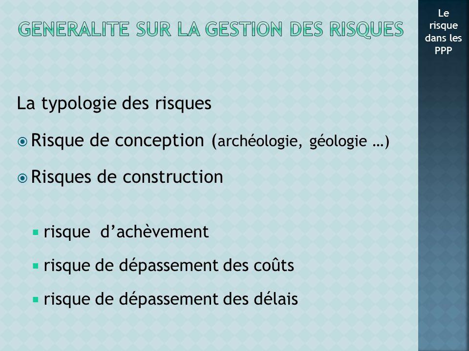 La typologie des risques Risque de conception ( archéologie, géologie …) Risques de construction risque dachèvement risque de dépassement des coûts ri