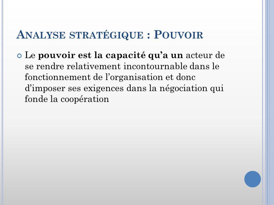 A NALYSE STRATÉGIQUE : P OUVOIR Le pouvoir est la capacité qua un acteur de se rendre relativement incontournable dans le fonctionnement de lorganisat