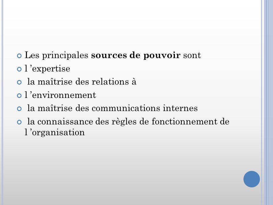 Les principales sources de pouvoir sont l expertise la maîtrise des relations à l environnement la maîtrise des communications internes la connaissanc
