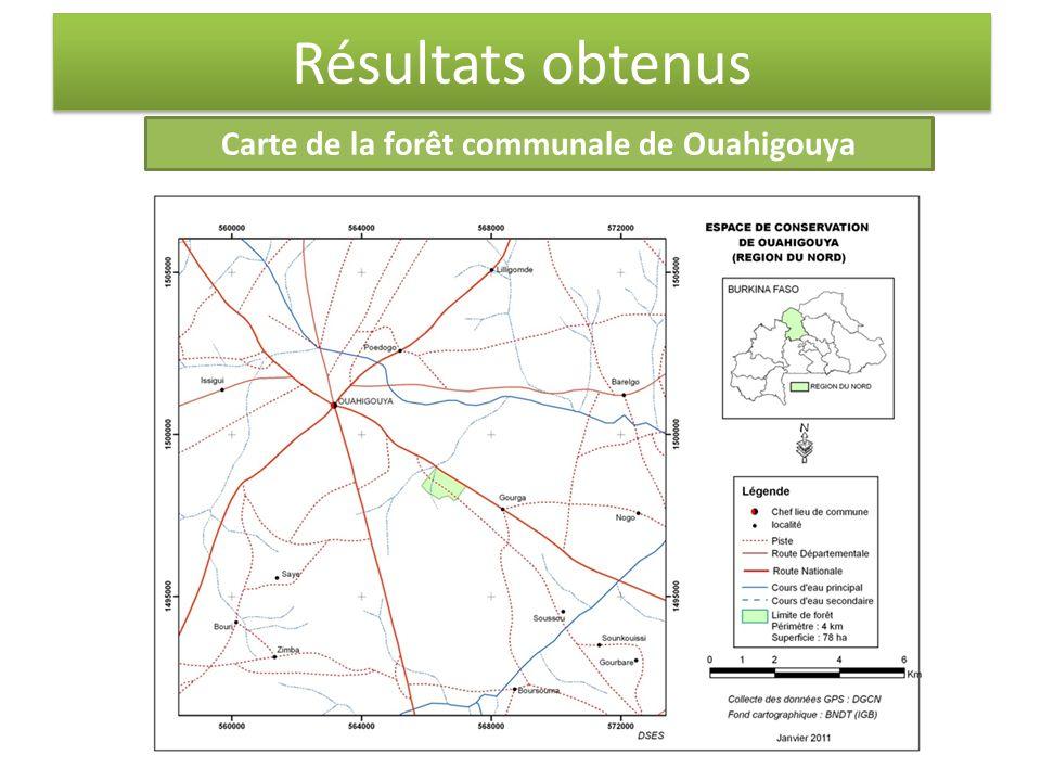 Résultats obtenus Carte de la forêt communale de Ouahigouya
