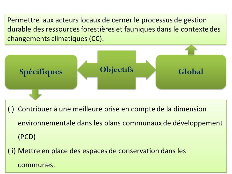 Spécifiques Global Objectifs Permettre aux acteurs locaux de cerner le processus de gestion durable des ressources forestières et fauniques dans le contexte des changements climatiques (CC).
