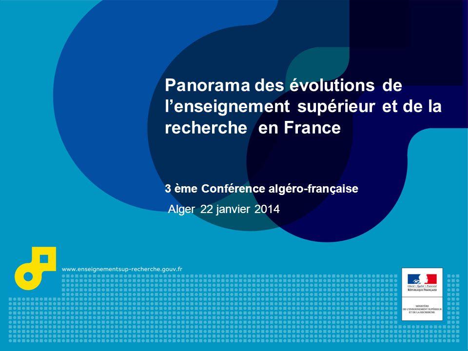 1 Panorama des évolutions de lenseignement supérieur et de la recherche en France 3 ème Conférence algéro-française Alger 22 janvier 2014