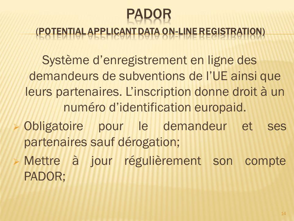 Système denregistrement en ligne des demandeurs de subventions de lUE ainsi que leurs partenaires. Linscription donne droit à un numéro didentificatio
