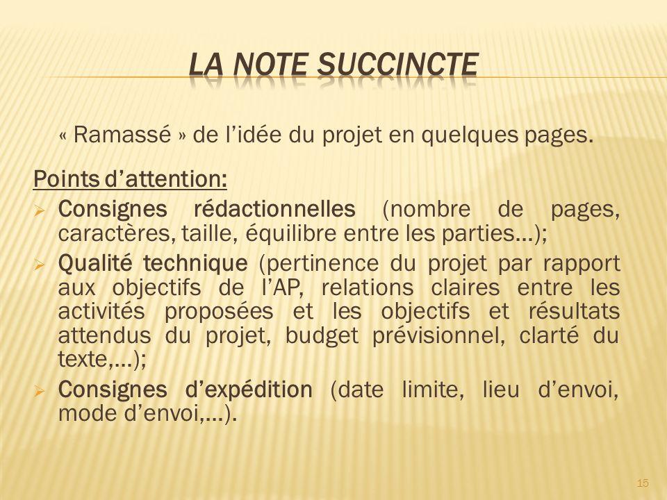 « Ramassé » de lidée du projet en quelques pages. Points dattention: Consignes rédactionnelles (nombre de pages, caractères, taille, équilibre entre l