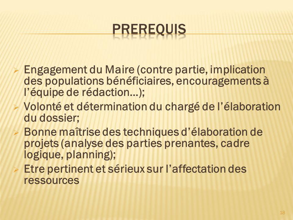 Engagement du Maire (contre partie, implication des populations bénéficiaires, encouragements à léquipe de rédaction…); Volonté et détermination du ch