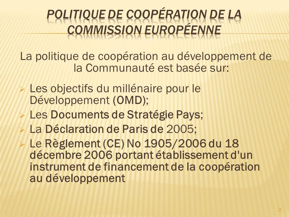 La politique de coopération au développement de la Communauté est basée sur: Les objectifs du millénaire pour le Développement (OMD); Les Documents de