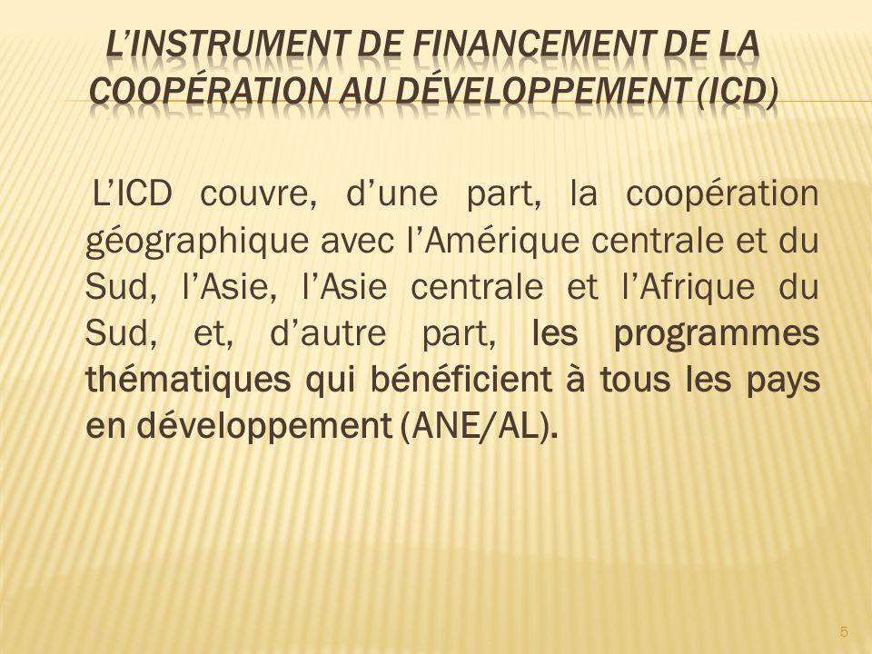 LICD couvre, dune part, la coopération géographique avec lAmérique centrale et du Sud, lAsie, lAsie centrale et lAfrique du Sud, et, dautre part, les