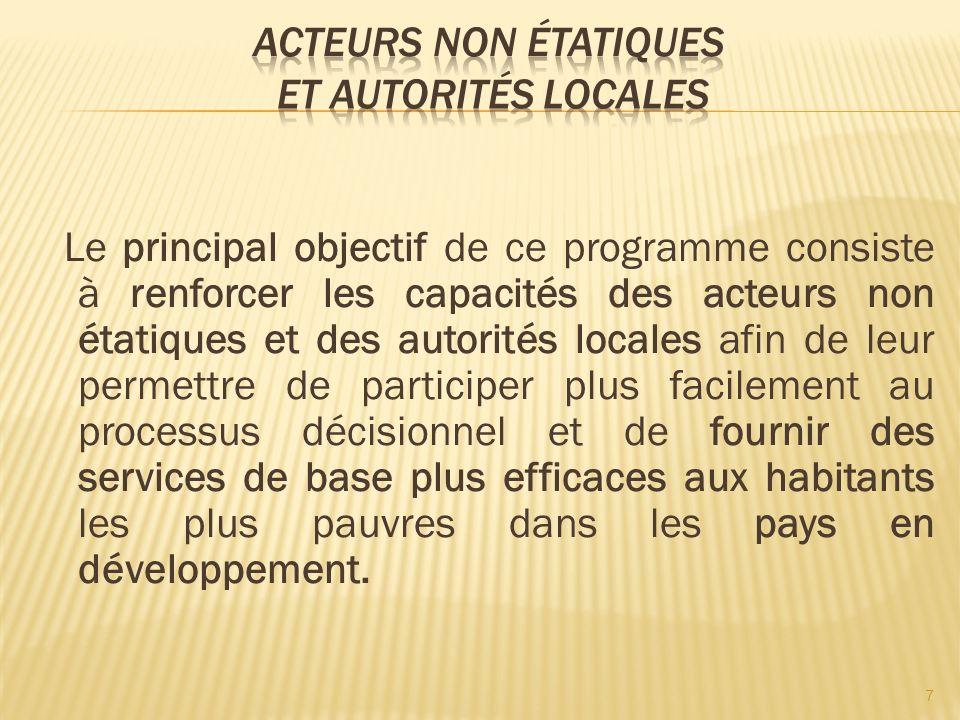 Le principal objectif de ce programme consiste à renforcer les capacités des acteurs non étatiques et des autorités locales afin de leur permettre de