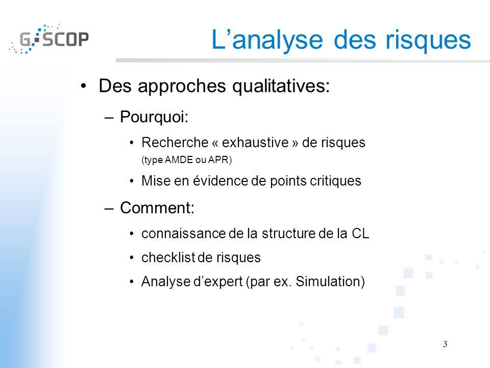 Lanalyse des risques Des approches qualitatives: –Pourquoi: Recherche « exhaustive » de risques (type AMDE ou APR) Mise en évidence de points critique