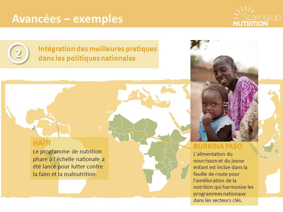 Avancées – exemples Intégration des meilleures pratiques dans les politiques nationales 2 2 BURKINA FASO L alimentation du nourrisson et du jeune enfant est inclue dans la feuille de route pour l amélioration de la nutrition qui harmonise les programmes nationaux dans les secteurs clés.