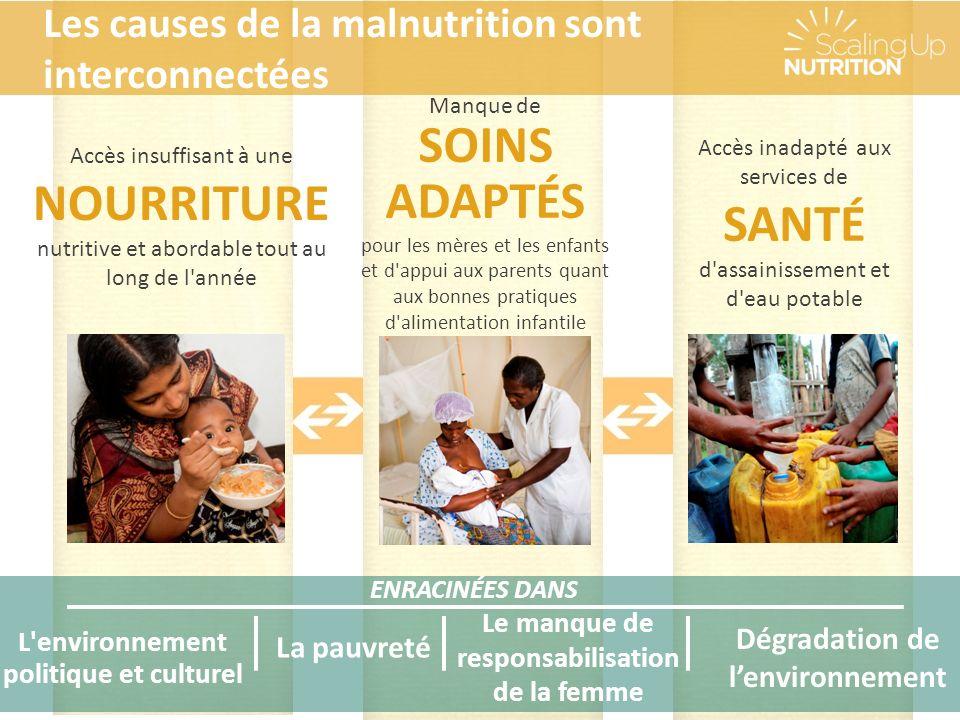 ENRACINÉES DANS La pauvreté Le manque de responsabilisation de la femme L environnement politique et culturel Accès insuffisant à une NOURRITURE nutritive et abordable tout au long de l année Manque de SOINS ADAPTÉS pour les mères et les enfants et d appui aux parents quant aux bonnes pratiques d alimentation infantile Accès inadapté aux services de SANTÉ d assainissement et d eau potable Les causes de la malnutrition sont interconnectées Dégradation de lenvironnement