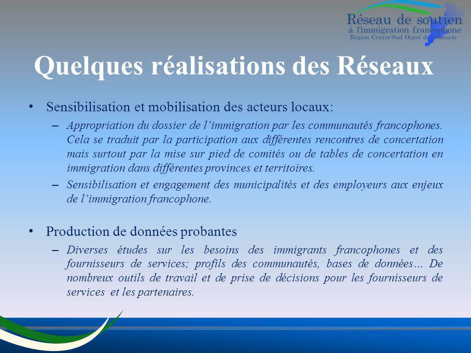 Quelques réalisations des Réseaux Sensibilisation et mobilisation des acteurs locaux: – Appropriation du dossier de limmigration par les communautés f