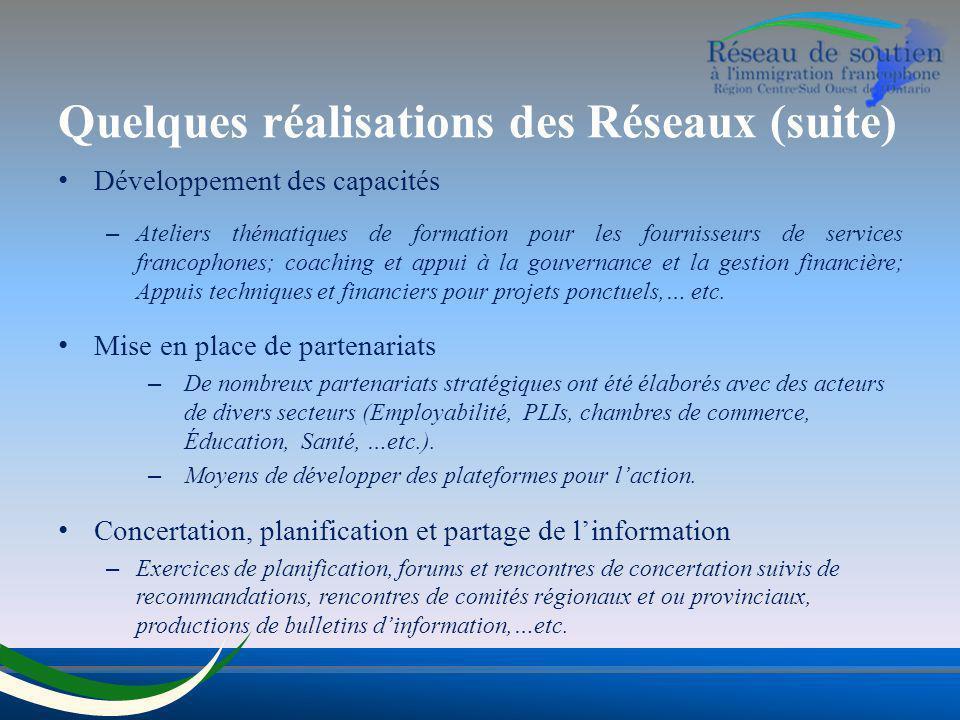 Quelques réalisations des Réseaux (suite) Développement des capacités – Ateliers thématiques de formation pour les fournisseurs de services francophon