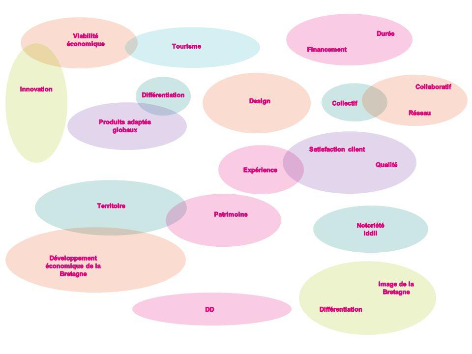 Concrétisation des projets -Phase industrialisation (gamme) -Commercialisation De nombreux produits et services créés sont diffusés Valider la faisabilité économique dès les phases de réflexion pour optimiser le taux de réussite Linnovation est rentable si les projets sont : -De qualité -Durent dans le temps -Sont bénéfiques à tout le monde Projets innovants globaux : Produits Services Usages « plus de confort » « faire preuve dimmagination » Des produits iddil qui améliorent limage de marque des acteurs du tourisme Fidélisation de la clientèle touristique -Projets viables économiquement -Plus de clients (pour le tourisme, pour les entreprises Des acteurs du tourisme dynamiques, à lécoute, innovants Une offre innovante et diversifiée Projets impliquant une variété dexploitants touristiques « Une vraie différence visible par le touriste » Création de nouveaux concepts dhébergement Village flottant Conformité cahier des charges initial adapté à des besoins identifiés Usages nouveaux et expériences nouvelles Expérience vécue « Nos clients ont le sourire et on envie den parler » Nouvelle découverte de la Bretagne Satisfaction client final « Des clients enthousiastes suite à léxpérience vécue » « Une réelle qualité de service » Créer un « Technocentre » ou « breizh design center » à la iddil = centre de recherche breton en innovation touristique avec designer/industriels/acteurs du tourisme Changer limage du design auprès des entreprises et du public Mise en relation entre entreprises (tourisme- Fab) et designer