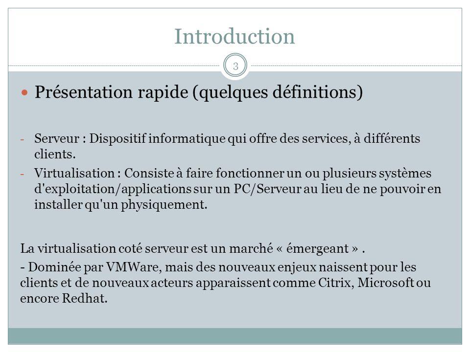 Introduction 3 Présentation rapide (quelques définitions) - Serveur : Dispositif informatique qui offre des services, à différents clients. - Virtuali