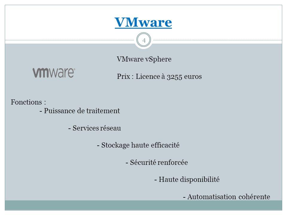 VMware VMware vSphere Prix : Licence à 3255 euros Fonctions : - Puissance de traitement - Services réseau - Stockage haute efficacité - Sécurité renfo