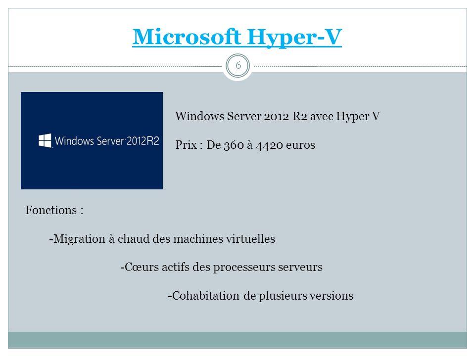 Microsoft Hyper-V Windows Server 2012 R2 avec Hyper V Prix : De 360 à 4420 euros Fonctions : -Migration à chaud des machines virtuelles -Cœurs actifs