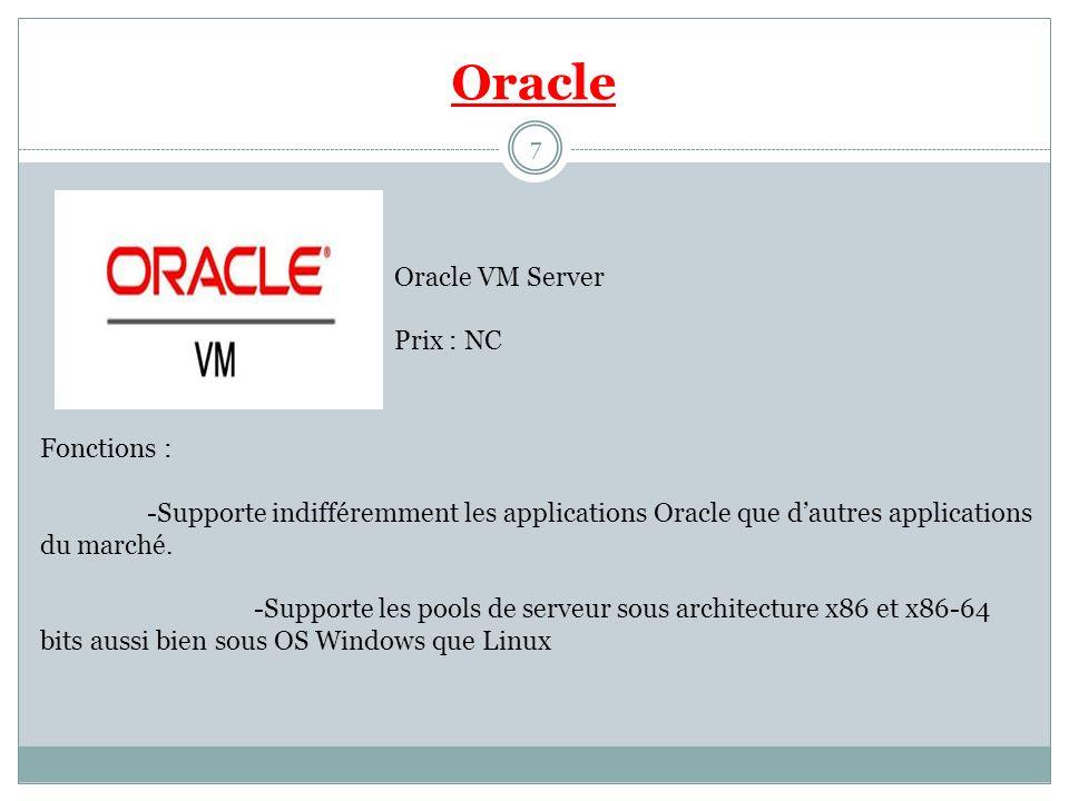 Oracle Oracle VM Server Prix : NC Fonctions : -Supporte indifféremment les applications Oracle que dautres applications du marché. -Supporte les pools