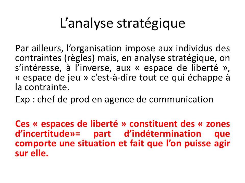 Lanalyse stratégique Par ailleurs, lorganisation impose aux individus des contraintes (règles) mais, en analyse stratégique, on sintéresse, à linverse