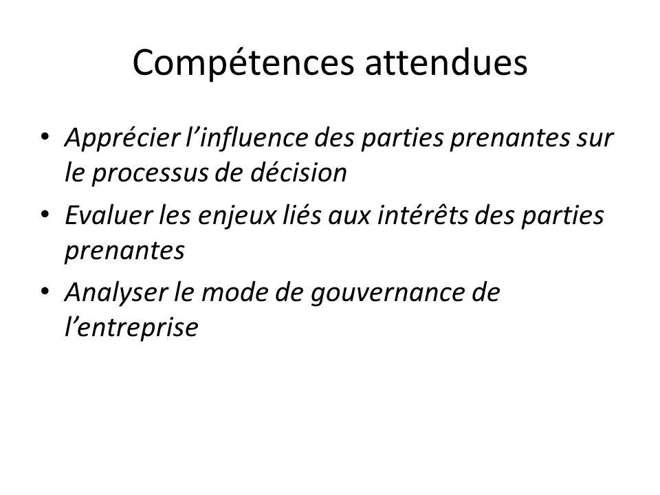 Compétences attendues Apprécier linfluence des parties prenantes sur le processus de décision Evaluer les enjeux liés aux intérêts des parties prenant