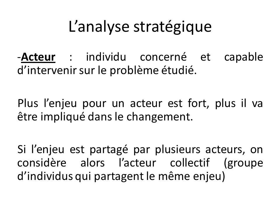 Lanalyse stratégique -Acteur : individu concerné et capable dintervenir sur le problème étudié. Plus lenjeu pour un acteur est fort, plus il va être i