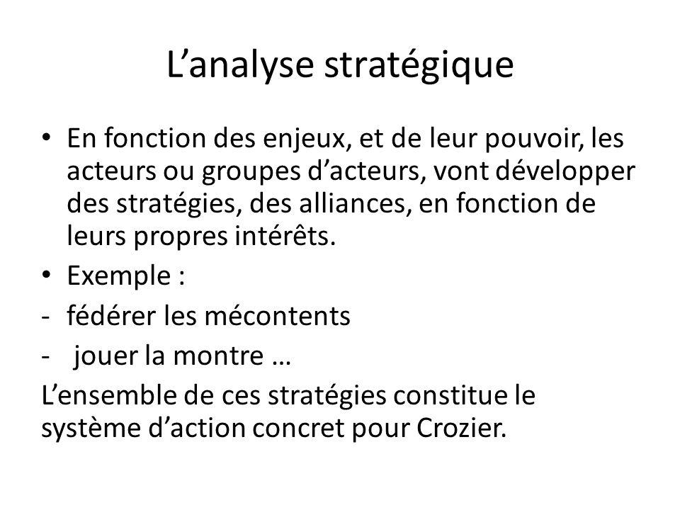 Lanalyse stratégique En fonction des enjeux, et de leur pouvoir, les acteurs ou groupes dacteurs, vont développer des stratégies, des alliances, en fo